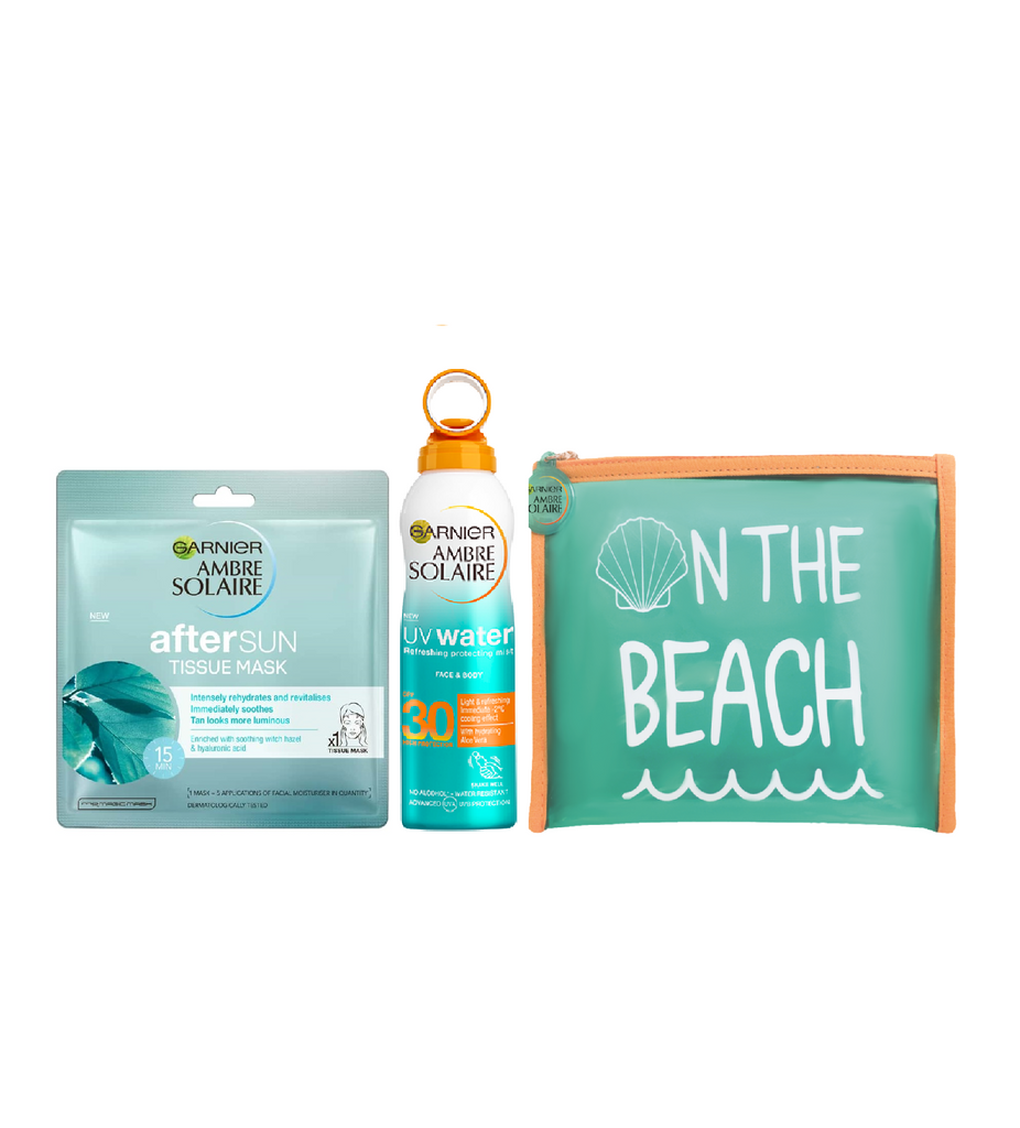 Garnier Ambre Solaire UV Water Refreshing Protecting Mist SPF 30 + After Sun Tissue Mask + Free Summer Pouch