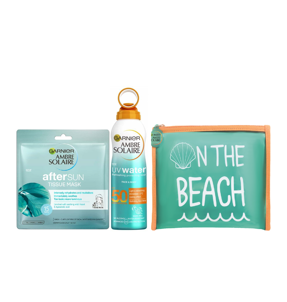 Garnier Ambre Solaire UV Water Refreshing Protecting Mist SPF 50+ After Sun Tissue Mask + Free Summer Pouch
