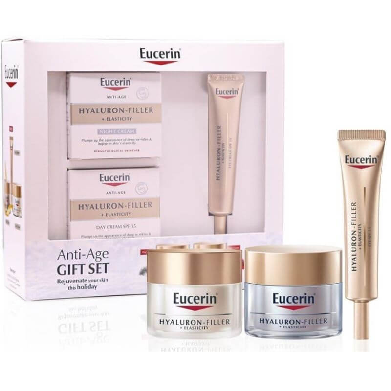 Eucerin Hyaluron-Filler + Elasticity Gift Set (Day + Night + Free Eye & Lip Cream )