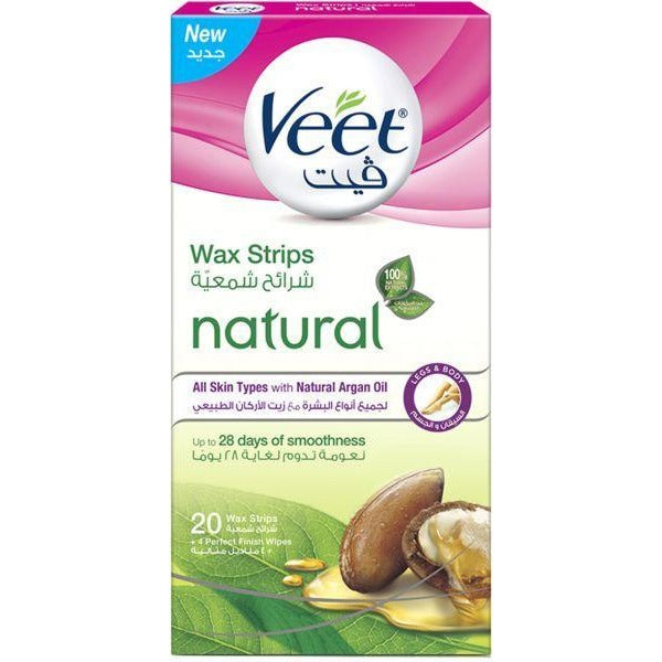 Veet Legs & Body 20 Wax Strips + 4 Perfect Finish Wipes - All Skin Types