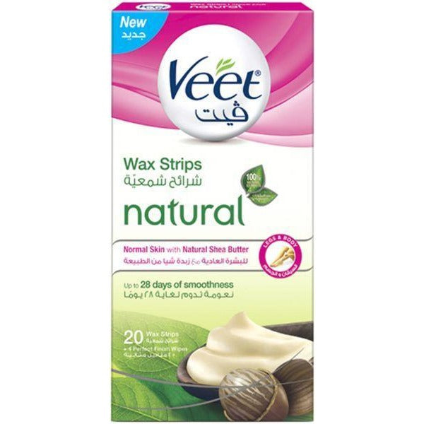 Veet Legs & Body 20 Wax Strips + 4 Perfect Finish Wipes - Normal Skin
