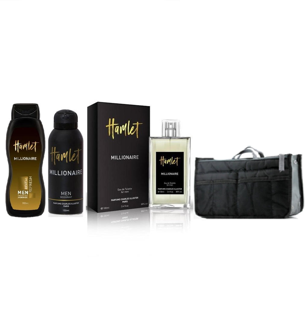 Hamlet Millionaire Gift set for Him with Multi Section Pouch