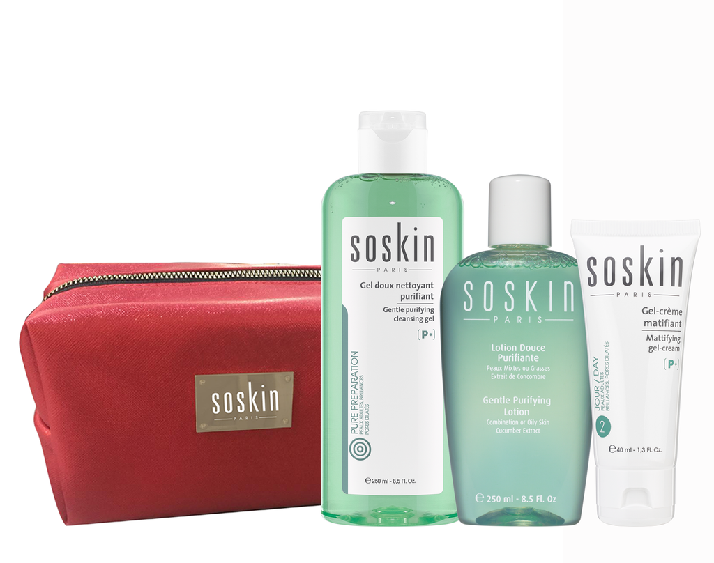 Soskin Acne Routine: Mattifying Gel Cream + Cleanser + FREE Lotion & Pouch