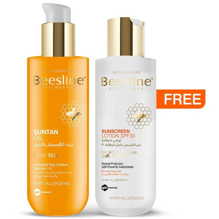 Beesline Suntan Oil 200ml + Free Sunscreen Lotion SPF30 200ml