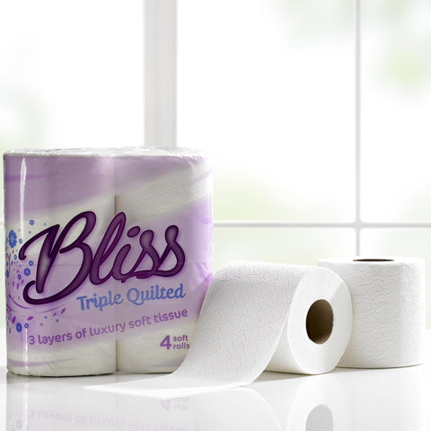 Bliss Triple Quilted Luxury Toilet Tissue Paper Roll x 45 Pack