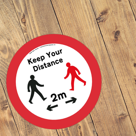 Keep Your Distance – Social Distancing Anti-Slip Floor Stickers (300mm) – 10 Pack – Black and Red Figure