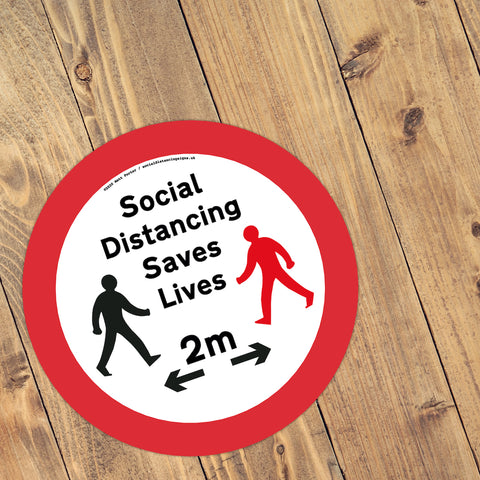Social Distancing Saves Lives – Social Distance Anti-Slip Floor Vinyl Stickers (300mm) - 10 Pack