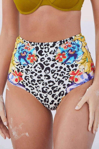 Printed Flat High-Waisted Bikini Bottom