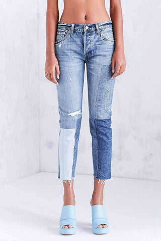 Image of Colorblock Patch Skinny Jean - Ragged Lands