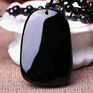 Obsidian Necklace Pendant With Rope