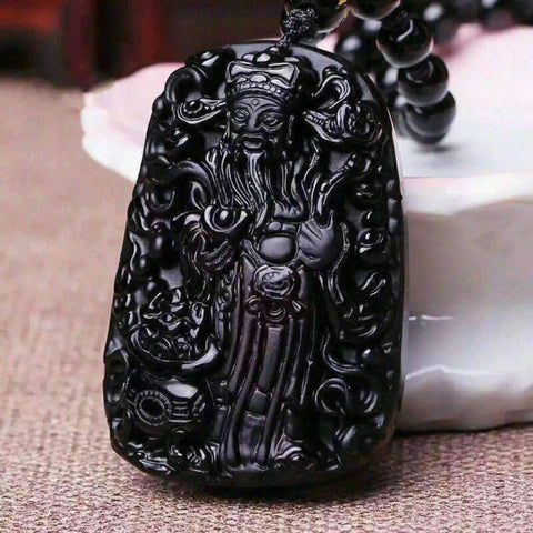Image of Obsidian Necklace Pendant With Rope