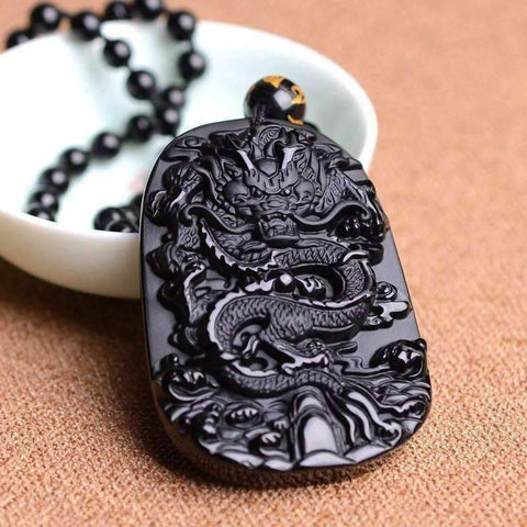Image of Natural Obsidian Zodiac Dragon Pendant