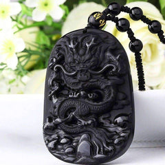 Natural Black Obsidian Dragon Pendant