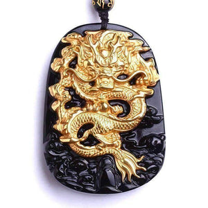 Gold Natural Black Obsidian Dragon Lucky Amulet