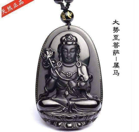 Natural Black Obsidian Carved Buddha Lucky Amulet