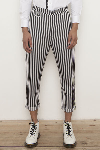 BLACK EYE RAGS - COPLEY TROUSER IN BLACK AND WHITE VERTICAL STRIPES.
