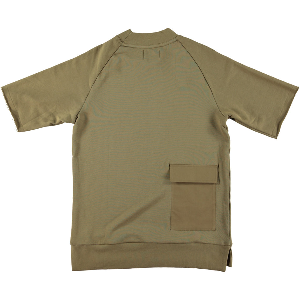 BLACK EYE RAGS - PINTA SHORT SLEEVED RAW EDGE SWEATSHIRT WITH APPLIED MILITARY POLLY TWILL POCKET