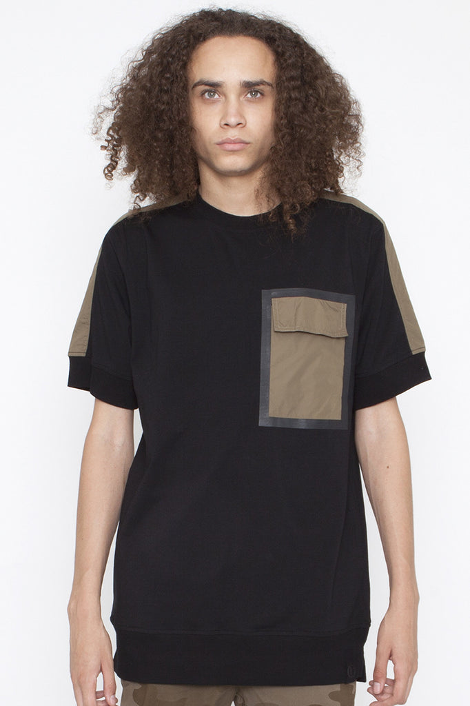 BLACK EYE RAGS - KURTZ SHORT SLEEVED SWEATSHIRT WITH APPLIED MILITARY POLLY TWILL SHOULDER AND POCKET
