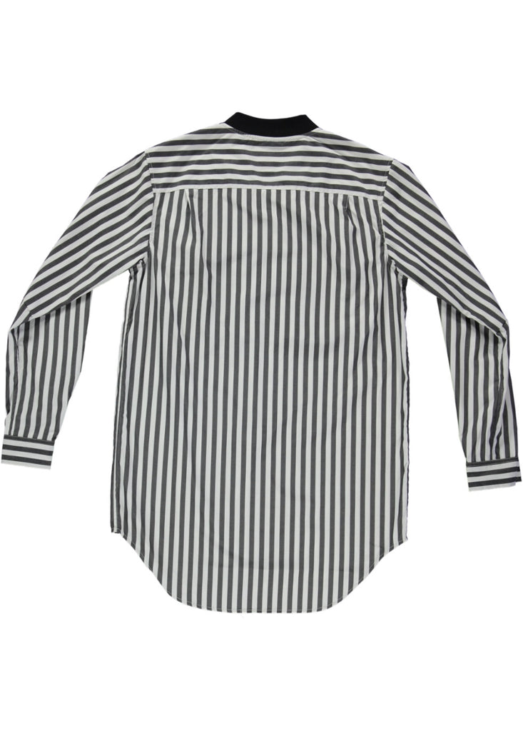 BLACK EYE RAGS - BOMB SHIRT IN BLACK AND WHITE VERTICAL STRIPES
