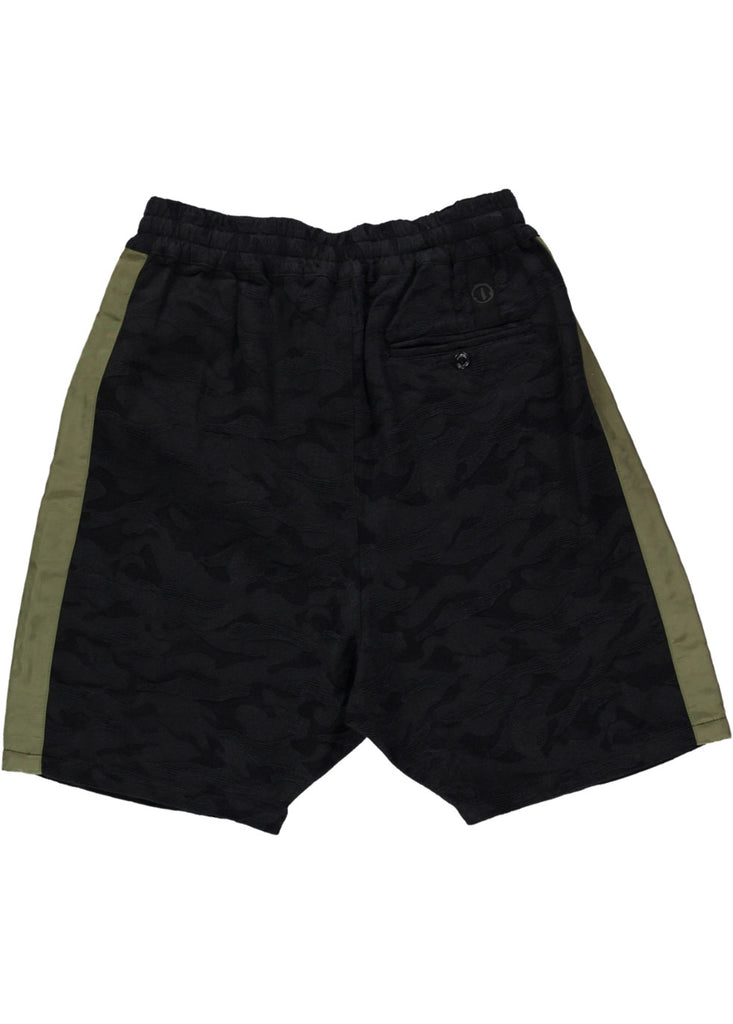BLACK EYE RAGS - CAMS SHORT IN SOFT FEEL BLACK CAMO JACQUARD FABRIC.