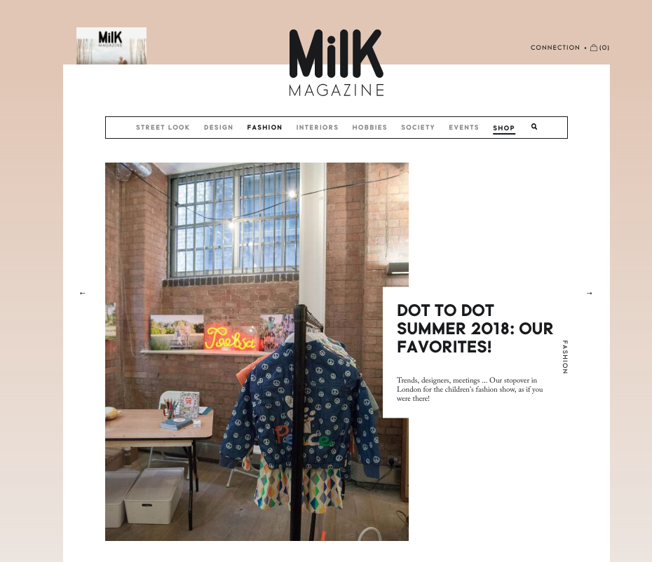 MiLK magazine write up on Dot to Dot featured Unisex Clothing Brand Claude and Co