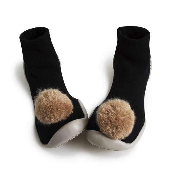 Collegien Slipper Sock Black with Pom Pom - Claude & Co