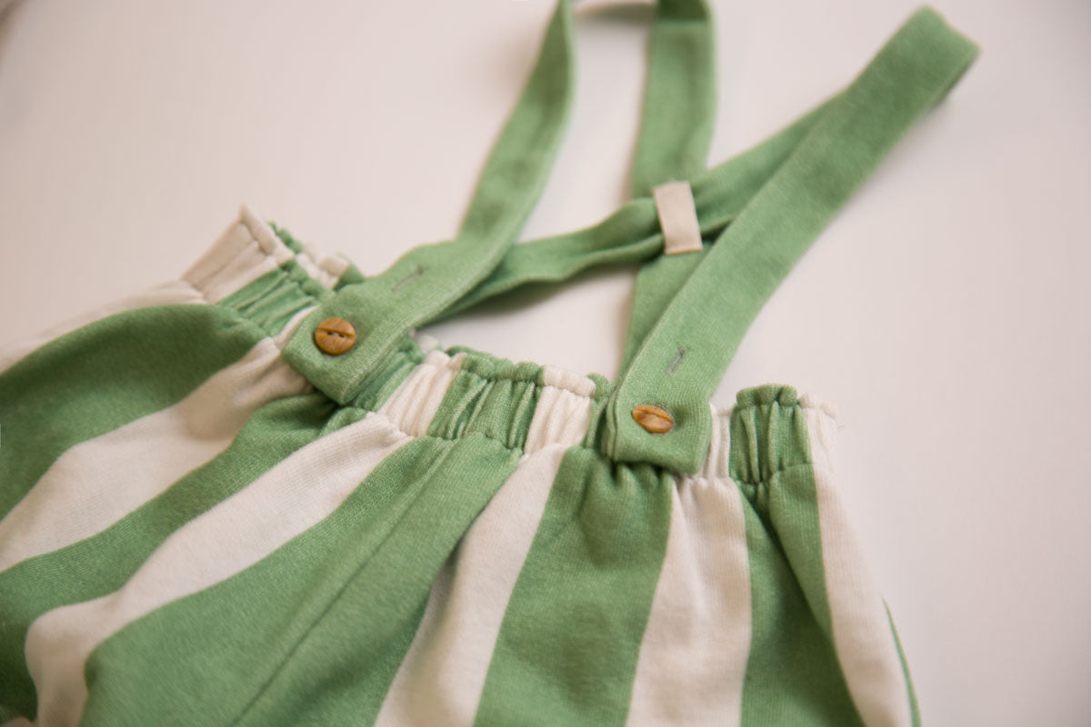 Stripe Green Bloomer Dungarees - Claude & Co