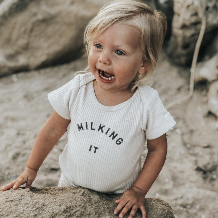 'Milking It' ® Organic Oat Rib Bodysuit Short Sleeve