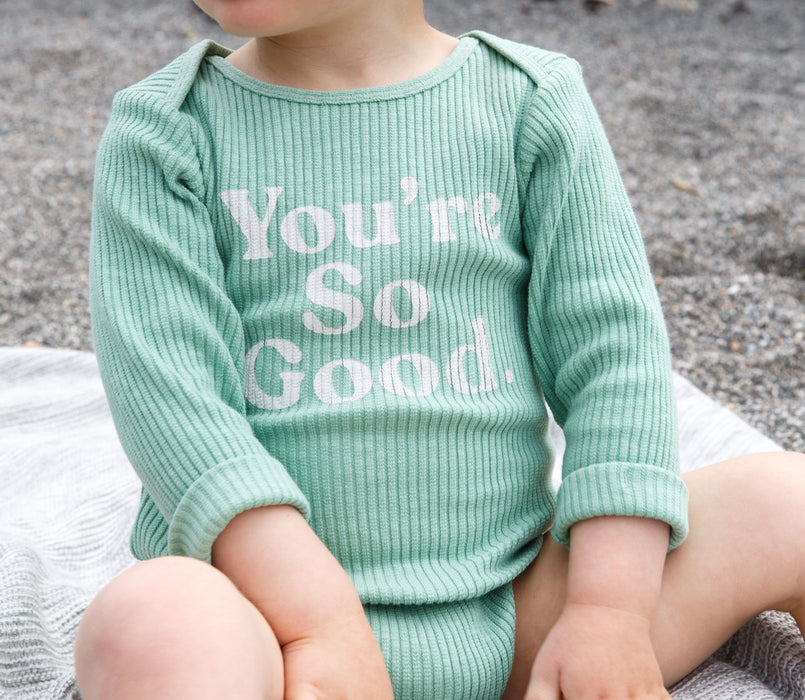 'You're So Good' Bodysuit Green Rib - Claude & Co