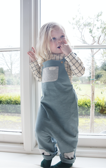 Teal Slub Cotton Dungaree - Claude & Co