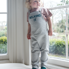 'Milking It' Dungaree Grey - Claude & Co