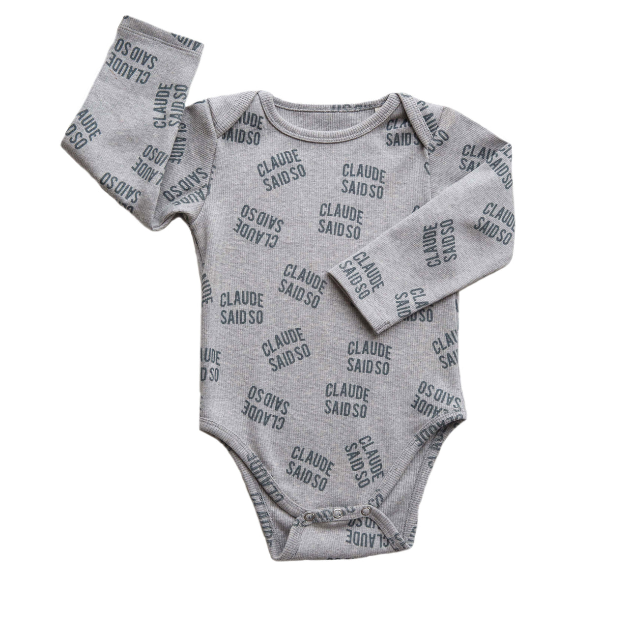 Claude and Co - Grey Rib Claude Said So Bodysuit Unisex - Claude & Co
