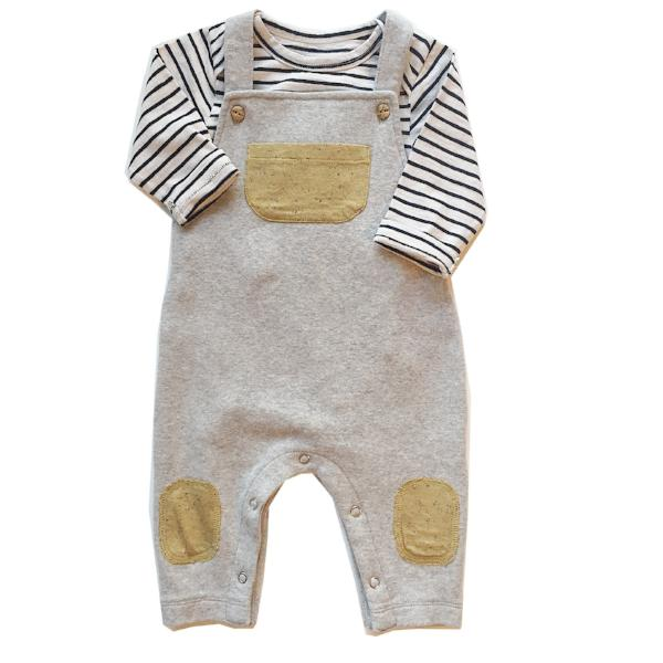Claude and Co - Grey Brushed Cotton Dungaree Unisex - Claude & Co