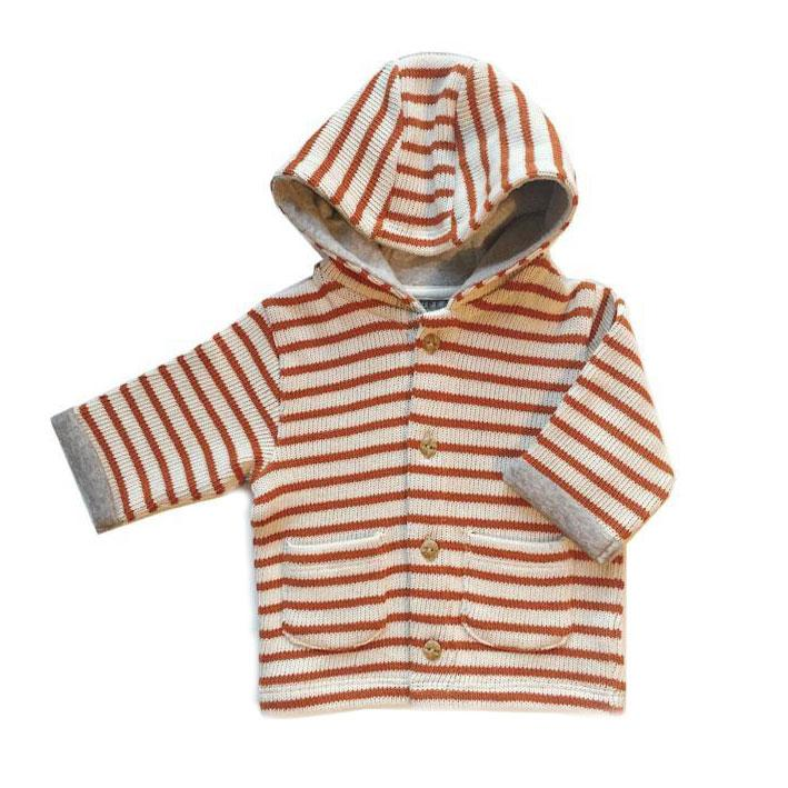 Claude and Co - Rust Orange Knitted Stripe Cardigan Unisex - Claude & Co