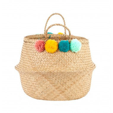 Olli Ella Woven Pom Pom Belly Basket - Claude & Co