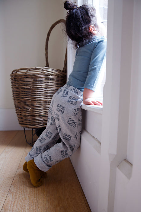 Grey Cotton Rib 'Claude Said So' Legging - Claude & Co