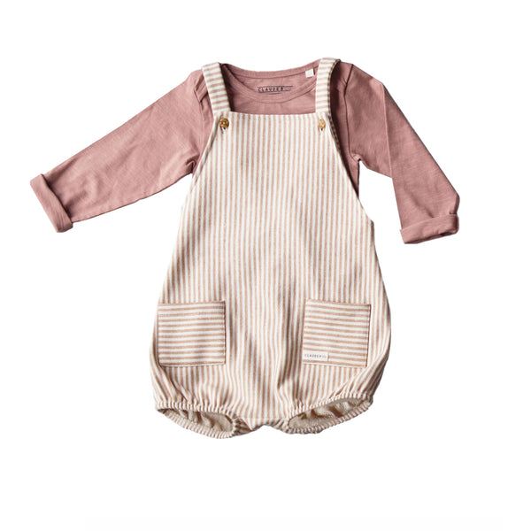 Claude and Co - Caramel Stripe Romper Short Unisex - Claude & Co