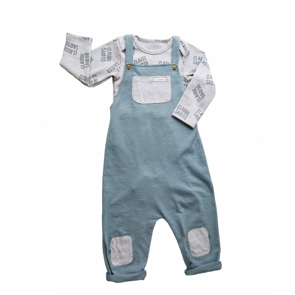 Claude and Co - Teal Slub Cotton Dungaree Unisex - Claude & Co