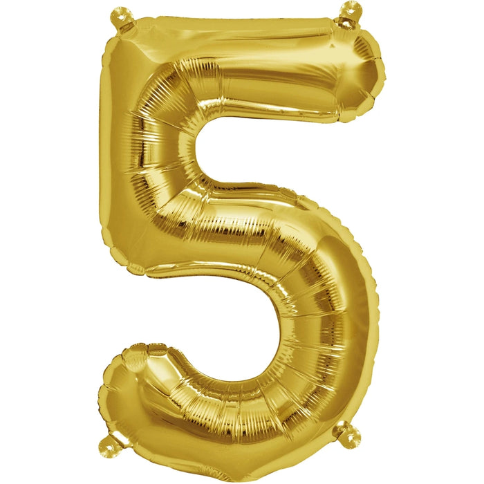 "0-9 NUMBER AIR-FILLED 16"" GOLD BALLOONS from Flingers Party World Bristol Harbourside who offer a huge range of fancy dress costumes and partyware items"
