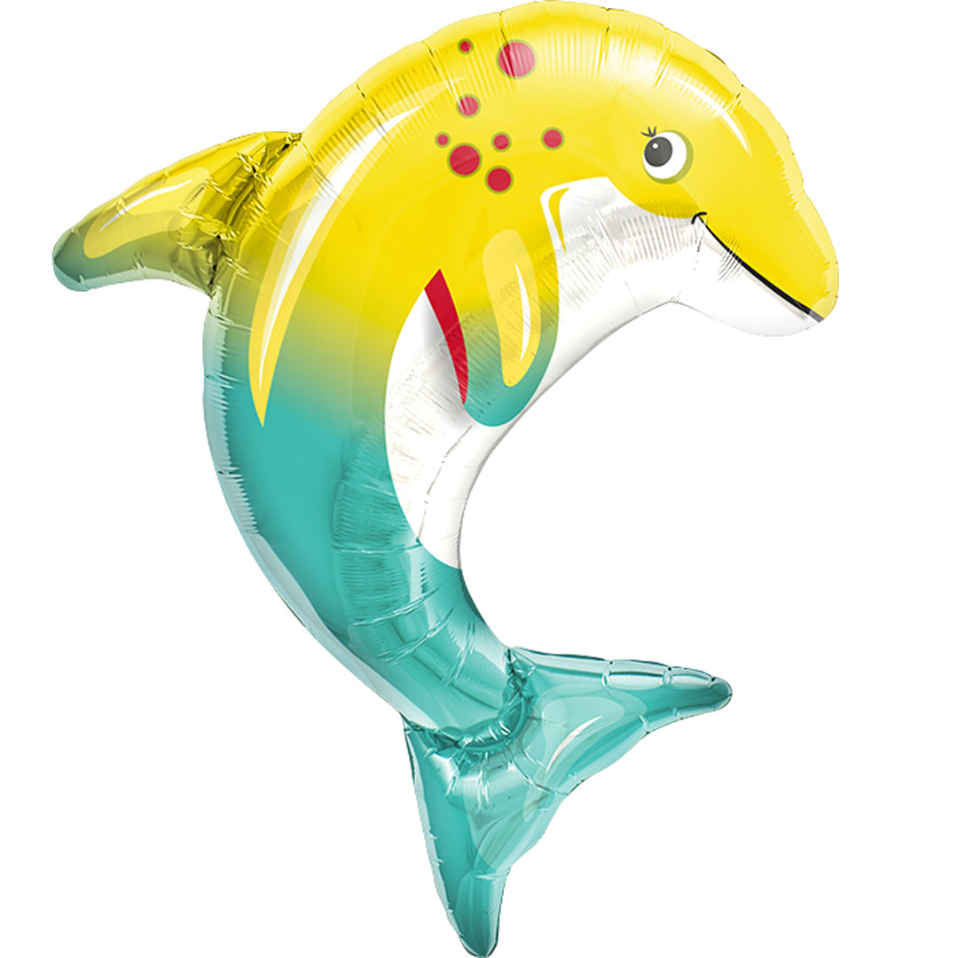 HAPPY DOLPHIN SUPERSHAPE FOIL BALLOON from Flingers Party World Bristol Harbourside who offer a huge range of fancy dress costumes and partyware items