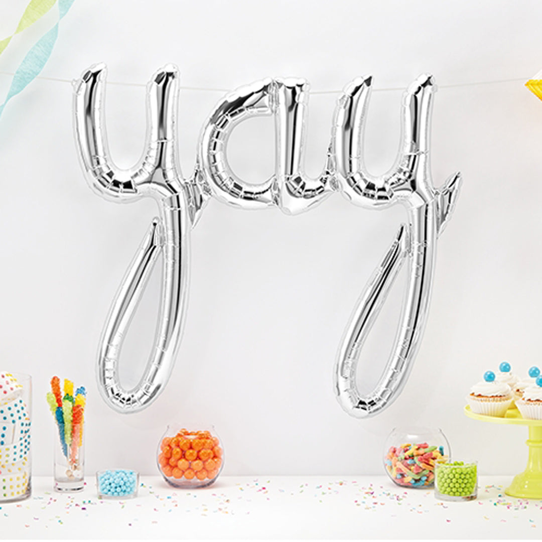 SILVER YAY SCRIPT AIR-FILLED BALLOON BANNER from Flingers Party World Bristol Harbourside who offer a huge range of fancy dress costumes and partyware items