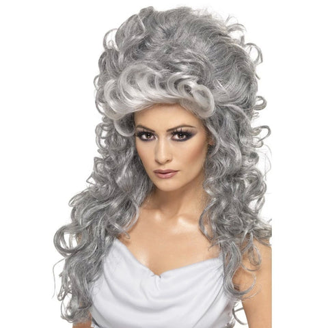 MEDEIA WITCH BEEHIVE WIG, GREY, LONG & CURLY from Flingers Party World Bristol Harbourside who offer a huge range of fancy dress costumes and partyware items