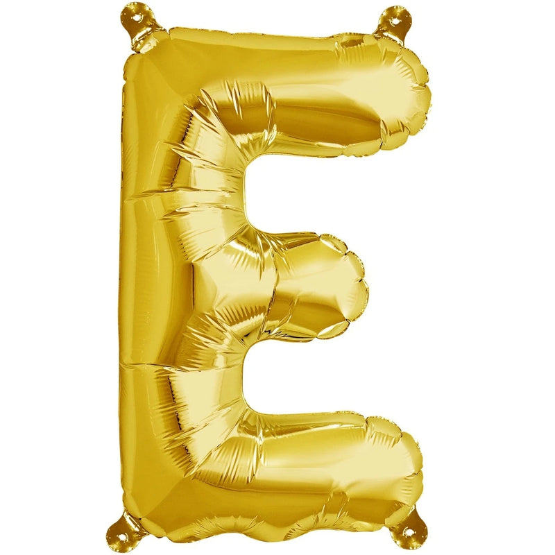 "AIR-FILLED 16"" 'E' GOLD BALLOON from Flingers Party World Bristol Harbourside who offer a huge range of fancy dress costumes and partyware items"
