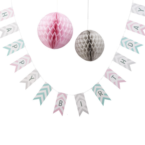 Chevron Divine Happy Birthday Bunting from Pop Cloud Bristol who offer a huge range of partyware, wedding and event hire decorations