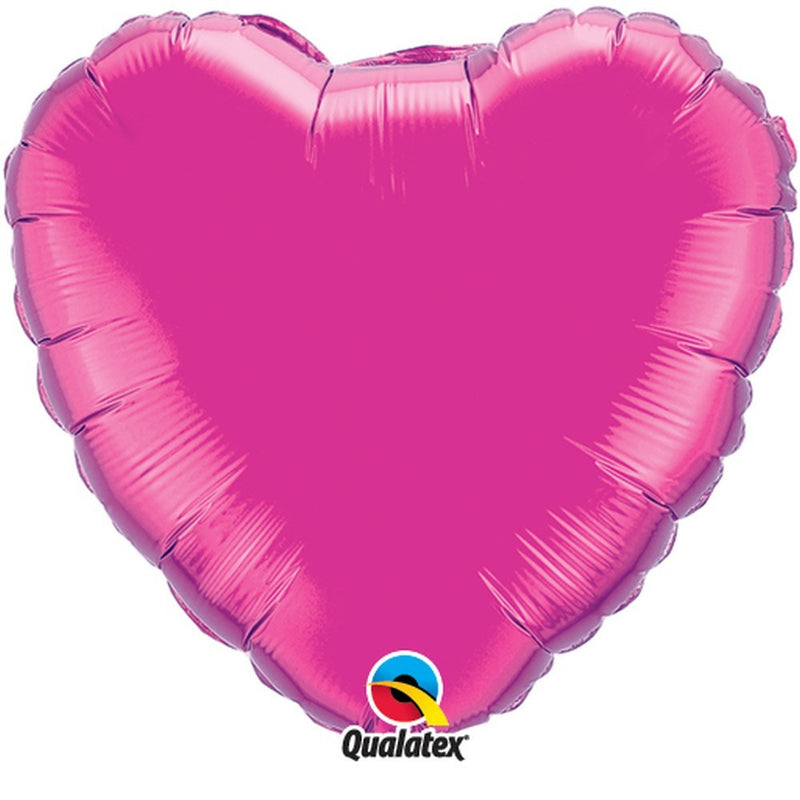 "Magenta Plain Foil Heart 18"" Balloon from Pop Cloud Bristol who offer a huge range of partyware, wedding and event hire decorations"