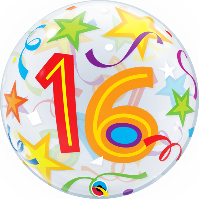 16TH BIRTHDAY STAR BUBBLE from Flingers Party World Bristol Harbourside who offer a huge range of fancy dress costumes and partyware items