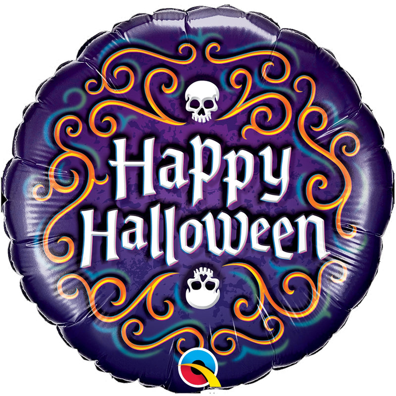SKULL HAPPY HALLOWEEN FOIL BALLOON from Flingers Party World Bristol Harbourside who offer a huge range of fancy dress costumes and partyware items