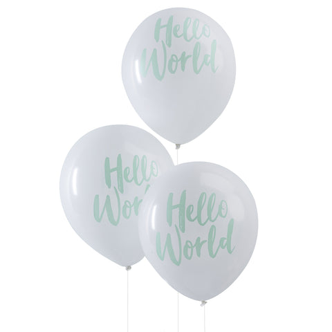 "Hello World 12"" Baby Shower Balloons x10 from Pop Cloud Bristol who offer a huge range of partyware, wedding and event hire decorations"