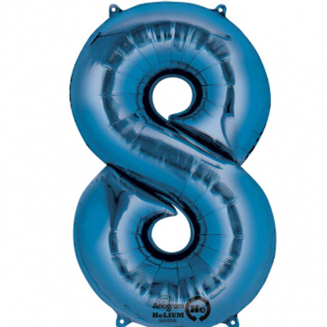 BLUE 8 LARGE FOIL NUMBER BALLOON from Flingers Party World Bristol Harbourside who offer a huge range of fancy dress costumes and partyware items