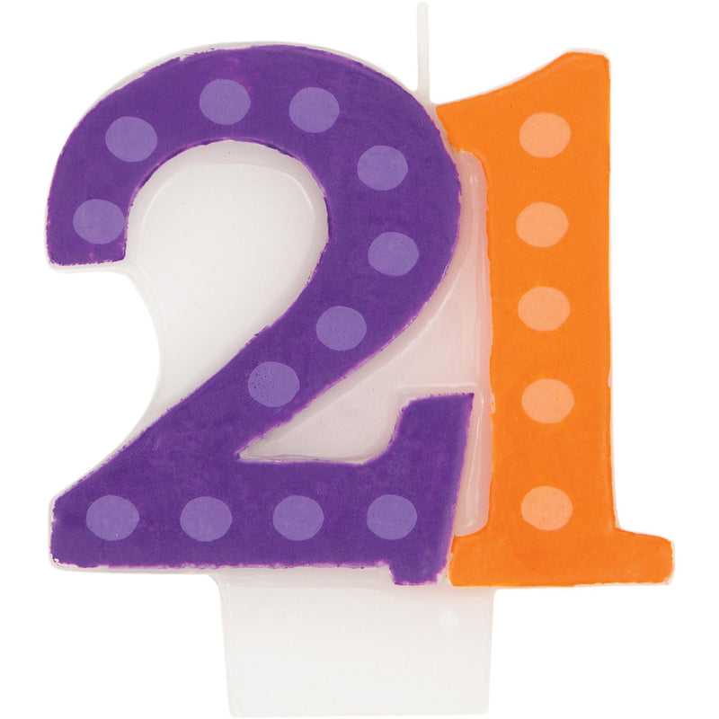 BRIGHT AND BOLD 21ST BIRTHDAY CANDLE from Flingers Party World Bristol Harbourside who offer a huge range of fancy dress costumes and partyware items